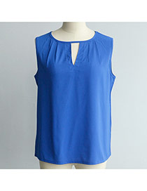 Fashion Sapphire Blue Pure Color Design Hollow Out Neckline Loose Chiffon Vest