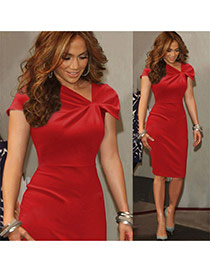 Fashion Red Pure Color Design Pleated V Neckline Short Sleeve Package Hip Pencil Dress