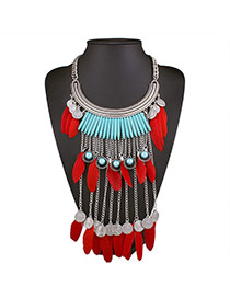 Personalized Red Feather&round Shape Pendant Decorated Multi-layer Tassel Necklace