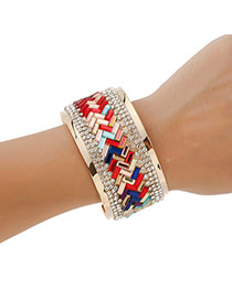 Retro Multi-color Square Shape Gemstone Decorated Brecelet