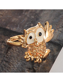 Personalty Gold Color Pure Color Decorated Owl Design Simple Ring