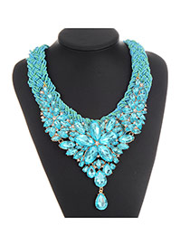 Fashion Blue Water Drop Shape Diamond Decorated Hand-woven Collar Necklace