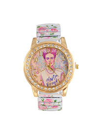 Lovely White Girl Pattern Decorated Printing Flower Strap Watch