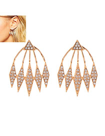 Fashion Gold Color Diamond Decorated Geometric Shape Design Earrings
