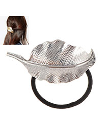 Fashion Silver Color Metal Leaf Decorated Simple Hair Hoop