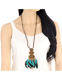 Vintage Multi-color Feather& Round Shape Decorated Long Chain Necklace