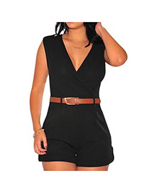 Fashion black Pure Color Decorated V Neckline Sleeveless Simple Jumpsuit (with Waistbelt)