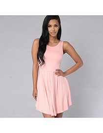 Elegant pink Pure Color Design Sleeveless Simple Pleated Dress