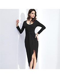 Sexy Black Pure Color Design Round Neckline Long Sleeve Irregular Shape Dress