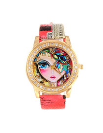 Lovely Red Girl Pattern Decorated Round Case Simple Watch