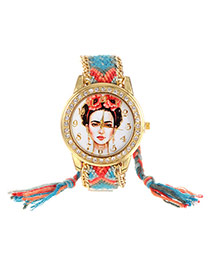 Vintage Blue+red Girl Pattern Decorated Hand-woven Strap Simple Watch