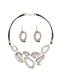 Exaggerate Silver Color Hollow Out Design Short Chain Jewelry Sets