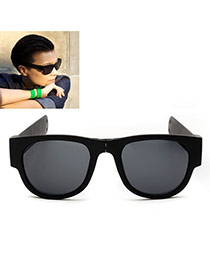 Vintage Black Color Matching Decorated Simple Folding Sunglasses