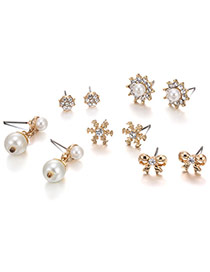 Fashion Gold Color Bowknot&pearls&diamond Decorated Simple Earrings