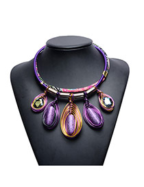 Exaggerated Purple Oval Shape Pendant Decorated Multi-layer Hand-woven Rope Design Simple Necklace