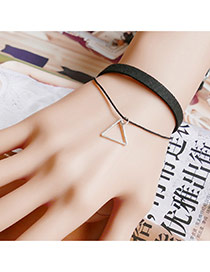 Vintage Black Metal Triangle Pendant Decoraetd Double Layer Bracelet