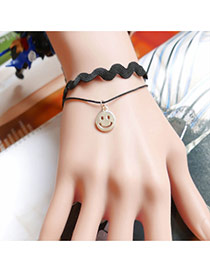 Vintage Black Metal Smiling Face Shape Pendant Decorated Double Layer Bracelet
