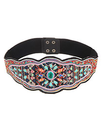 Vintage Multi-color Flower Shape Pattern Decorated Simple Belt