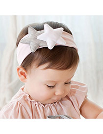 Lovely Pink Double Star Decorated Simple Wide Hair Hoop