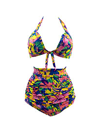 Bohemia Multi-color Flower Decorated Strap Of The Shoulder Bikini