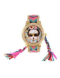 Fashion Plum Red+green Girl Dial Plate Decorated Hand-woven Belt Tassel Watch
