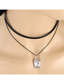 Elegent Silver Color Square Diamond Pendant Decorated Double Layer Necklace