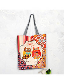 Cute Multi-color Double Cartoon Owl Pattern Decorated Square Shape Handbag