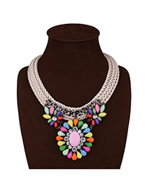 Exaggerate Multi-color Round Shape Pendant Decorated Hand-woven Short Chain Jewelry Sets