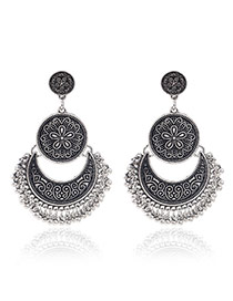 Vintage Silver Color Metal Moon Shape Decorated Tassel Earrings