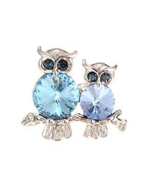 Fashion Blue Two Owls Pattern Decorated Simple Ring
