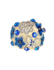 Fashion Blue Flower&star Pattern Decorated Irregular Shape Ring
