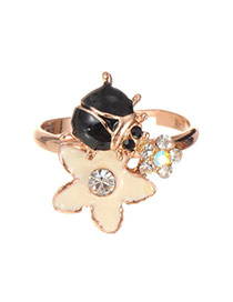 Fashion Gold Color Star&diamond Decorated Irregular Shape Ring