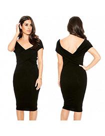 Sexy Black Pure Color Decorated Deep V Neckline Backless Tight Dress