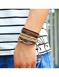 Fashion Coffee Hand-woven Design Simple Multilayer Bracelet