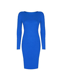 Sexy Sapphire Blue Pure Color Decorated Long Sleeve O Neckline Tight Dress