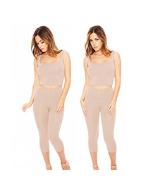 Sexy Khaki Pure Color Decorated Sleeveless Hollot Out Jumpsuits