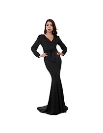 Sexy Black Deep V Neckline Decorated Long Sleeve Pure Color Fishtail Dress