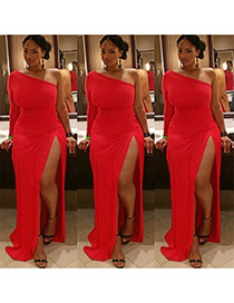Sexy Red Sloping Shoulder Decorated Pure Color Long Split Dress