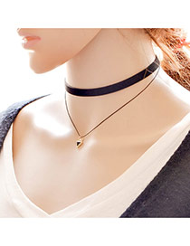 Elegant Black Triangle Pendant Decorated Double Layer Neckace