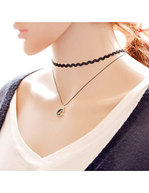 Elegant Black Moon Shape Pendant Decorated Double Layer Necklace