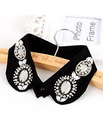 Fashion Black Big Gemstone Decorated Pure Color Simpe Collar