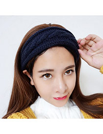 Sweet Sapphire Blue Pure Color Decorated Twist Shape Headband