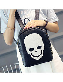 Fashion Black Skull Pattern Decorated Rivet Design Backpack