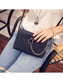 Sweet Black Metal Chain Decorated Simple Pure Color Shoulder Bag