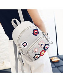Sweet Gray Rivet Flower Shape Decorated Pure Color Backpack