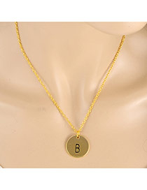 Fashion Gold Color Letter B&round Pendant Decorated Simple Necklace