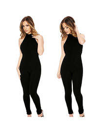 Sexy Black Pure Color Decorated Hang-neck Backless Simple Jumpsuits