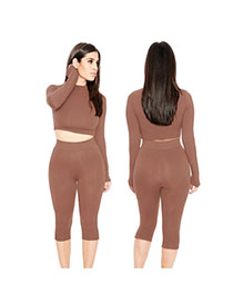 Sexy Brown Pure Color Decorated Long Sleeve O Neckline Two-piece Suits