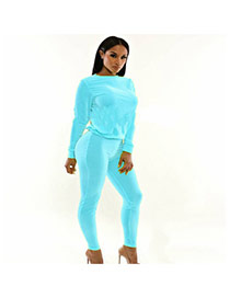 Casual Light Blue O Neckline Decorated Long Sleeve Pure Color Simple Jumpsuits