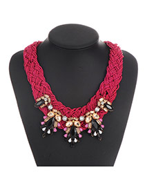 Vintage Purple Gemstone Weaving Decorated Hand-woven Chain Necklace